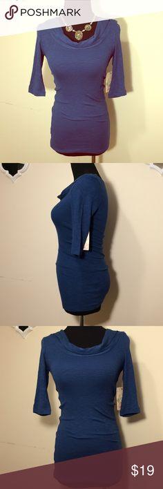❗️NET❗️Derek Heart Blue 3/4 length sleeve top ❗️NWT❗️Derek Heart Blue 3/4 length sleeve cowl neck top. Size S Derek Heart Tops Tees - Long Sleeve