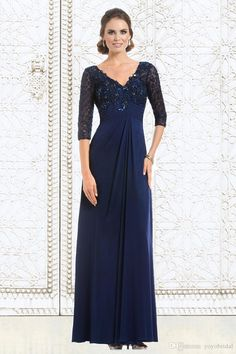 Navy Hot Lace 2017 Mother of the Bride Groom Dresses Plus size 3/4 Long Sleeves Applique Chiffon Evening Prom Formal Dress Gowns