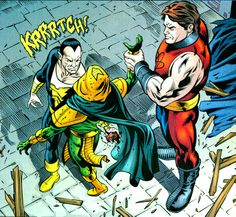 Black Adam executes Kobra with the help of Atom-Smasher. From JSA #51 (2003); art by Leonard Kirk and Keith Champagne.