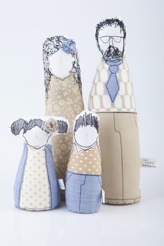 Family Portrait Parents with children dolls by TIMOHANDMADE