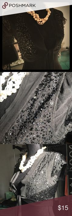 Cocktail half jacket/shawl Black sequin. Shear/mesh fabric with under bust long tie. So cute but never worn, just didn't have a complete outfit to wear with. BCBGMaxAzria Tops