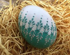 Easter Egg Pysanka in Aqua Hand Painted Duck Egg Wax