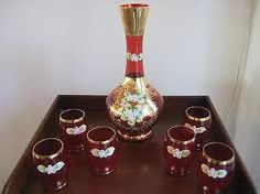 Bohemian glass decanter, red