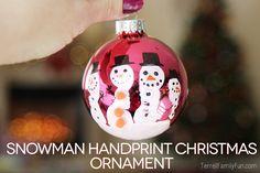 Snowman handprint #christmas ornament #craft #diy
