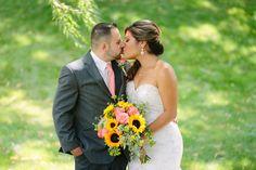 brides summer bouquet, sunflower brides bouquet, coral brides bouquet, summer bridal bouquet