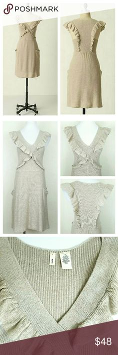 Moth Converging Roads Sweater Dress Moth Converging Roads Sweater Dress. Two fluttery ruffles meet and then divide again on their journey across soft sweaterknit. Cotton/linen. EUC  NoTrade or PP Bundle discounts Offers Considered Anthropologie Dresses