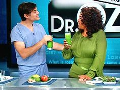 Dr. Oz's Green Drink: Yum, Yum, YUM.        Apples - 2      Celery - 3 Stalks      Cucumber - 1      Ginger - 1 Teaspoon (half inch)      Lemon - 0.5 (with rind)      Lime - 1 (with rind)      Parsley - 1.5 Cups (a bunch)      Spinach - 2 Cups (2 big handfuls)  Directions  Process all ingredients in a juicer, shake or stir and serve.