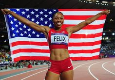 Allyson Felix of the United States celebrates after winning gold in the Women's 200m Final on Day 12 of the London 2012 Olympic Stadium on August 8, 2012 in London, England.