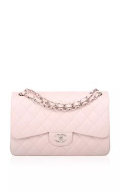 Chanel Baby Pink Quilted Caviar Jumbo Classic Bag by Madison Avenue Couture for Preorder on Moda Operandi