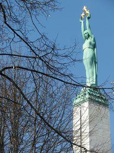 Freedom Monument on Restoration of Independence day. May 4, 2013. Riga, Latvia.