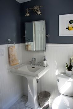 Photos On Mirror and pedestal sink Home with Baxter House Tour Week Half Bath Laundry Room Reveal