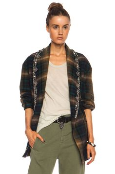 Isabel Marant|Milroy Embroidered Check Linen-Blend Jacket in Brown