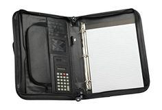 """Briefcase 3-Ring Binder Folder Portfolio Organizer Planner w/ Smart Handle. INTENDED USE: Organizer with Briefcase Handles, Gift Item, Corporate Gift, Job Interview, Work Briefcase, College Portfolio. This Smart handles briefcase makes it convenient and professional on a go, hide it when not using it (FREE RETURN). SIZE: 14 1/2"""" X 11"""" X 2"""" WEIGHT: 2.10 lbs (OGR7114) MATERIAL: Leatherette. FEATURES: Zippered main compartment padfolio with organizer, SMART HANDLE(Can be push down to hide it)…"""