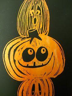 scratch art pumpkins