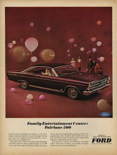 Instant access to historical digital collections. Retro Advertising, Vintage Advertisements, Vintage Ads, Ford Fairlane, Ford Torino, Ford Classic Cars, Unique Cars, Us Cars, Old Ads