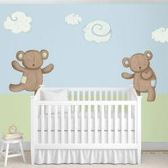 Adorable bear wall stickers and cloud decals for the baby room {by My Wonderful Walls}. Available in different 4 color schemes.  Easy peel and stick!#NewYearNewRoom