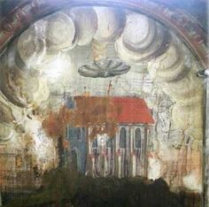 A strange disc is seen hovering over a monastery in Romania
