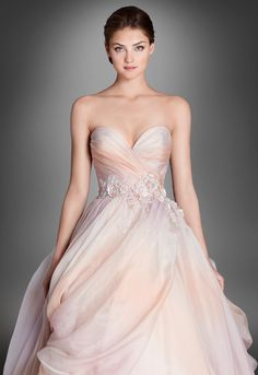 Detail View LZ3651 Sherbet ombré silk organza bridal ball gown, strapless sweetheart neckline, pleated bodice accented with floral beaded appliques at natural waist, pick up skirt with tulle underlay, sweep train.