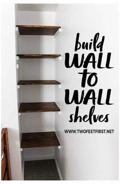 Diy Closet Shelves, Build Your Own Shelves, Shelves On Wall, Decorating Wall Shelves, Wall Shelves For Books, Building Shelves In Closet, Bedroom Wall Shelves, Diy Built In Shelves, Diy Closet System