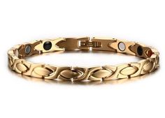Men's Gold Stainless Steel Magnetic Therapy Negative Ion Germanium Bracelet  #Unbranded #PunkClassic