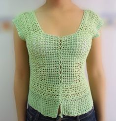 Short sleeve crochet blouse in two shades of light green. / S-M /