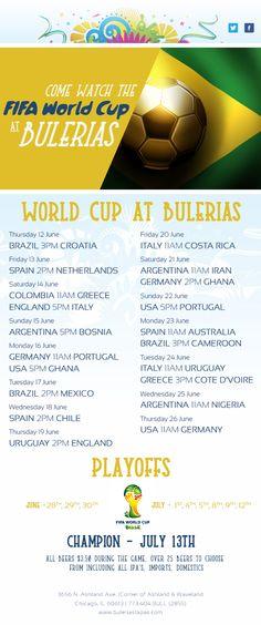 World Cup Schedule shown @ Bulerias Tapas Chicago