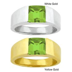 10k Gold Peridot Bold Contemporary Ring (Yellow Gold - Size 7.5), Women's, Green