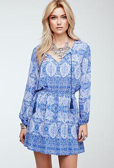 Mosaic Print Peasant Dress | FOREVER21 - 2000054475