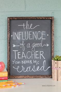 DIY Chalkboard Vinyl Framed Sign, no chalkboard paint or vinyl cutter needed! Just stick on and write in chalk!  Love this!