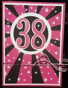 Number of Year, 38, Sunburst thinlint die gemaakt door Ilona de Bont, onafhankelijk Stampin' Up! demonstratrice