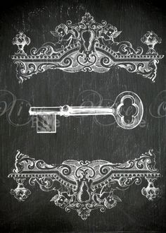 Digital Download, No.  308 Vintage Skeleton Key 5x7 Chalkboard Print. $4.00, via Etsy.