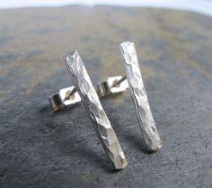 Textured minimalist bars- simple stud earrings - hammered silver earrings- handmade earrings #SterlingSilverEarrings