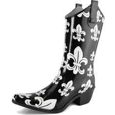 DailyShoes Cowboy Rose Skull Floral Prints High Heel Rain Boots -- Check this awesome product by going to the link at the image.