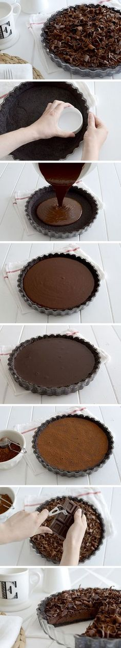Chocolate tart - Tarta fina de chocolate by kristie Baking Recipes, Dessert Recipes, Delicious Desserts, Yummy Food, Chocolate Desserts, Chocolate Chocolate, Chocolate Cupcakes, Chocolate Fashion, Oreo Desserts