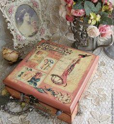 """Купить Шкатулка с ячейками """"Парижский шарм"""" - кремовый, шкатулка, шкатулка для мелочей, шкатулка для рукоделия"""