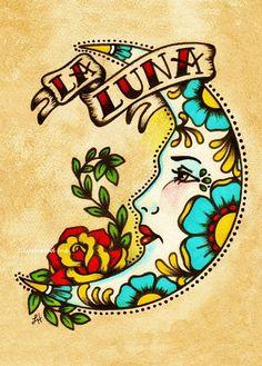 Old School Tattoo Art LA LUNA Loteria Print latin-inspiration