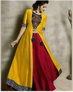 indian designer wear Delectable Embroidered Maroon and Yellow Party Wear Kurti Indian Fashion Dresses, Indian Gowns Dresses, Dress Indian Style, Indian Designer Outfits, Indian Outfits, Dresses Dresses, Party Wear Indian Dresses, Indian Wear, Party Wear Kurtis
