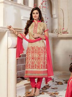 Beige Chanderi Silk Churidar Suit 63368