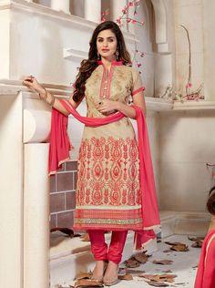 Beige Chanderi Silk Churidar Suit 63368