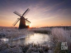 Herringfleet Windmill at Sunrise Photographic Print by Chris Herring at Art.com
