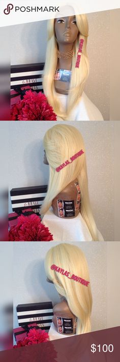 """SWISS LACE PLATINUM LACE WIG HUMAN HAIR BLEND NATURAL PLATINUM COLOR """"NO YELLOW OR GOLDEN TONES"""" APPROXIMATELY 20-22 INCHES CAN TAKE HEAT BE PUT IN A PONYTAIL OR BUN YES YOU CAN WASH HER (DOESN'T TAKE DYE) 3 COMBS & ELASTIC BAND ON CAP 🎁I DO NOT TRADE AT ALL #NEVER 🎁NOT ACCEPTING OFFERS 🎁NO HOLDS 🎁PRICE IS FIRM 👑ACTUAL PHOTOS OF MY PRODUCT & MY WORK NO SCREENSHOTS NO STOCK PHOTOS  📣I DO NOT TRADE📣  💌SHIPPING POLICY :SAME DAY SHIPPING IF PURCHASED BEFORE 12PM MONDAY 