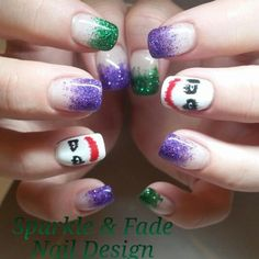 """Speaking of Suicide Squad, we can't forget to mention the Joker—I mean Jared Leto, c'mon! And you can support him too by using his signature colors of purple and green to create thisfashion-forward mani from Sparkle and Fade Nail Designsthat will have everyone asking, """"Why so serious?"""""""
