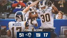 2017 Game #8: LA Rams-51 vs. NY Giants-17 in New York. Rams win improves to 6-2, 1st NFC West. (twitter.image) 11.05.17 (Sun)