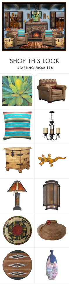 """Southwestern Living"" by melody-renfro-goldsberry ❤ liked on Polyvore featuring interior, interiors, interior design, home, home decor, interior decorating, Hinkley Lighting, NOVICA, Quoizel and Troy"