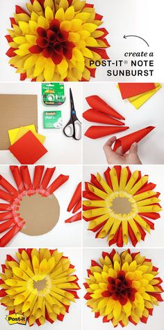 Create your own sunshine with this sunburst made out of Post-it Notes! Create your own sunshine with this sunburst made out of Post-it Notes! Art And Craft, Craft Stick Crafts, Fall Crafts, Craft Gifts, Bee Crafts, Origami With Post Its, Sticky Note Crafts, Sticky Notes, Stem Projects