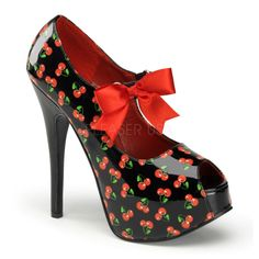 PINUP COUTURE TEEZE-25-3 Black Pat Cherries Print Mary Jane Pumps