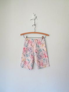 Splater Paint Hot Pants * 90s Spandex Pants * Vintage Biker Shorts * Medium