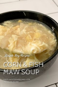 This nutritious and silky soup is made from only 4 main ingredients and can be prepared quickly within 30 minutes. Adding fish maws greatly enhanced the texture and richness to the ordinary corn soup. This is a great soup that you could easily make at home. It is an authentic Chinese cuisine recipe with simplified steps and ingredients required! Check out our website where could you find the written step by step recipes with images and videos to teach you how to become a better cook at home!