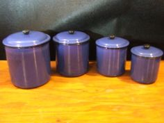 BLUE CANISTER VINTAGE  METAL CANISTER KITCHEN CANISTER CONTAINER BLUE & WHITE #Collectible