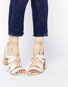 Image 1 ofASOS TALK SHOW Lace Up Snake Effect Sandals